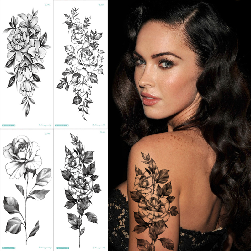 4pcs Set Women Black Flowers Tattoo Fake Tatoo Arm Sleeve Rose Sketch Flower Temporary Tattoo Sketches Tattoo Designs Minimalist Temporary Tattoos Aliexpress