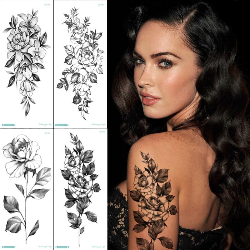 4pcs/set Women Black Flowers Tattoo Fake Tatoo Arm Sleeve Rose Sketch Flower Temporary Tattoo Sketches Tattoo Designs Minimalist