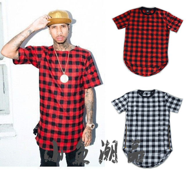 0366f686 Hor sale Side Zipper Plaid High Quality Star Look Man Hip Hop Hiphop  Skakeboard Streetwear Swag Tops Tees T-shirt Men Tyga Style
