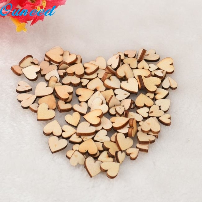 Ouneed Happy Home 100pcs Rustic Wood Wooden Love Heart Wedding Table Scatter Decoration Crafts DIY