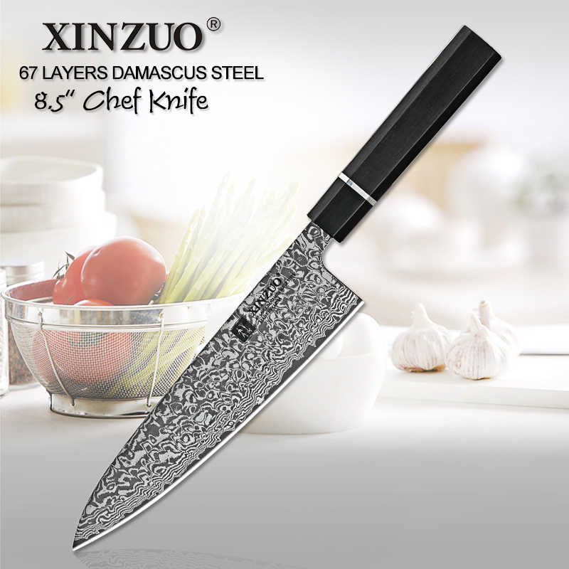 XINZUO 8.5 inch High Quality Chef Knife Japan VG10 Damascus Steel Kitchen Knife Best Gift Chef Knife Cleaver Santoku Cook Tools