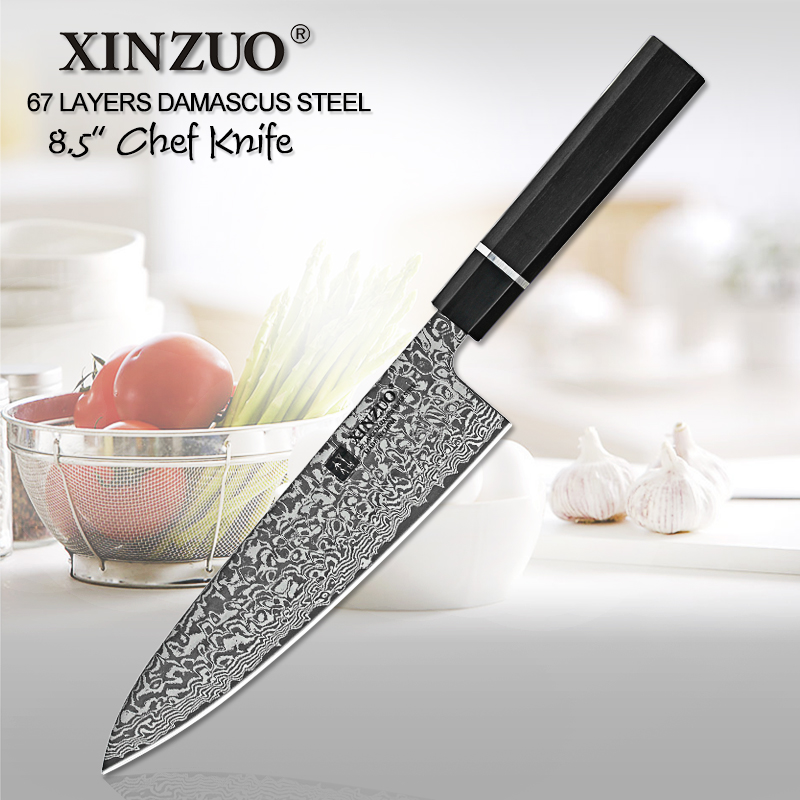 XINZUO 8.5 inch High Quality Chef Knife Japan VG10 Damascus Steel Kitchen Knife Best Gift Chef Knife Cleaver Santoku Cook ToolsXINZUO 8.5 inch High Quality Chef Knife Japan VG10 Damascus Steel Kitchen Knife Best Gift Chef Knife Cleaver Santoku Cook Tools
