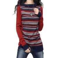 אופנה נשים פסים קשמיר סוודרים סרוגים גבירותיי סוודר שרוול ארוך סתיו החורף Vintage Slim נשי סוודרי מגשרים