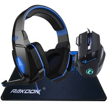 EACH Stereo Deep Bass LED Light Pro Gaming Headphone Headset Headband+7 Buttons Game Mice Mouse+Big Mousepad
