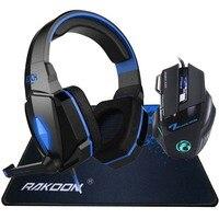 KAŻDY Głębokim Basem DOPROWADZIŁY Światła Pro Gaming Słuchawki Zestaw Słuchawkowy Stereo Pałąk + 7 Przyciski Pro Gra Myszy Gaming Mouse + Gaming Podkładka Prezent