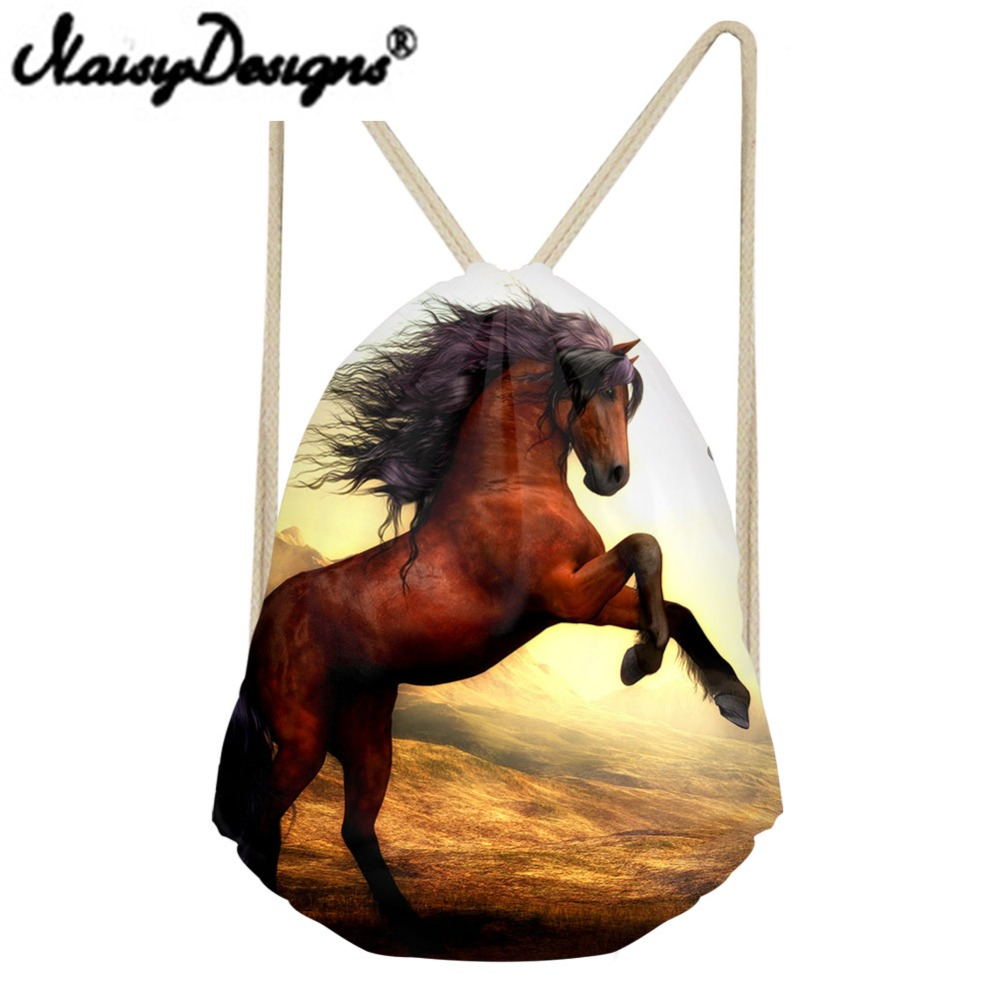 NOISYDESIGNS Crazy Horse And Unicorn Printing Drawstring Bags For Men And Women Backpack School Shopper Travel Day PackMochila