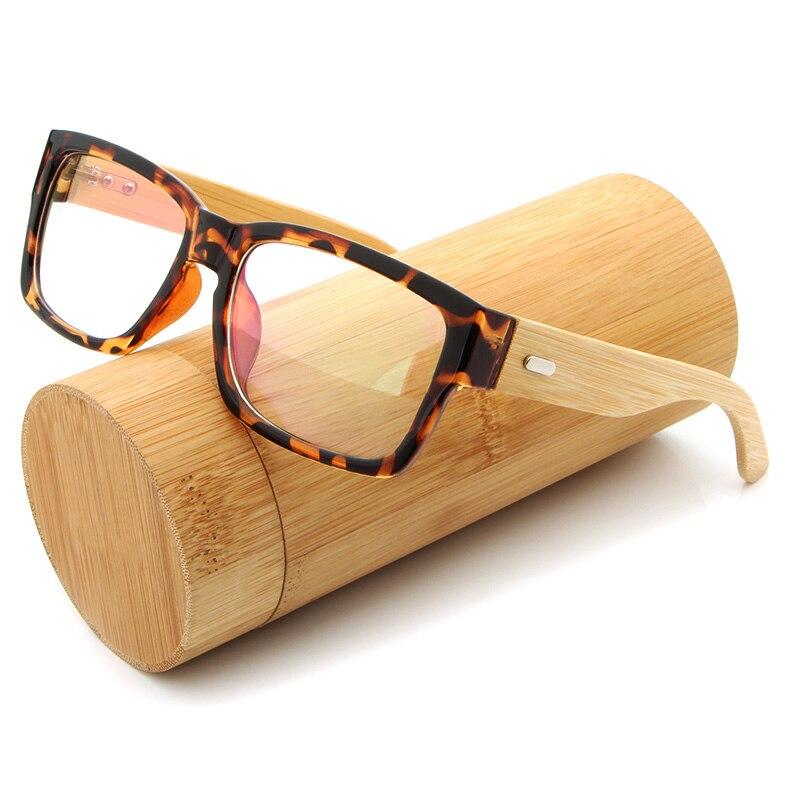 HDCRAFTER Bamboo Handmade Vintage Retro Eyeglasses Frame Men's Wooden Glasses Frame Myopia Optical Frame Clear Lens