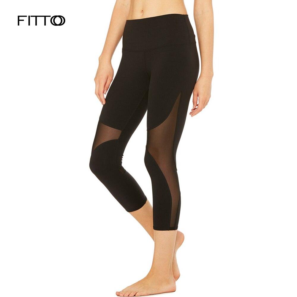 Womens Legging Ptachwork Mesh Black White   Capri   Leggings Sexy Fitness Sporting   Pants   Calf Length Running Trousers jegging S-XL