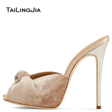 Fashion Peep Toe Woman Mules Popular Knot Women Summer High Heel Shoes With Stone Print Velvet Shoes Plus Size Ladies Party Shoe цены онлайн