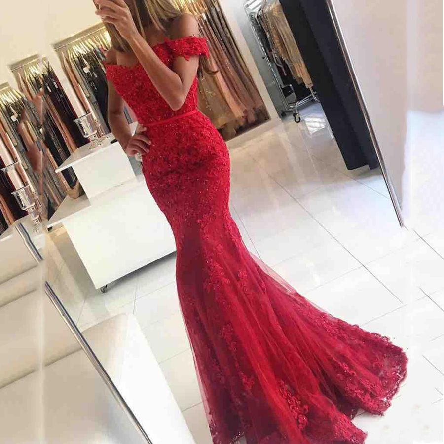 Fashion Burgundy Lace Mermaid Floor Length Women Formal Dress Off Shoulder Maxi Gowns for Hot Girl