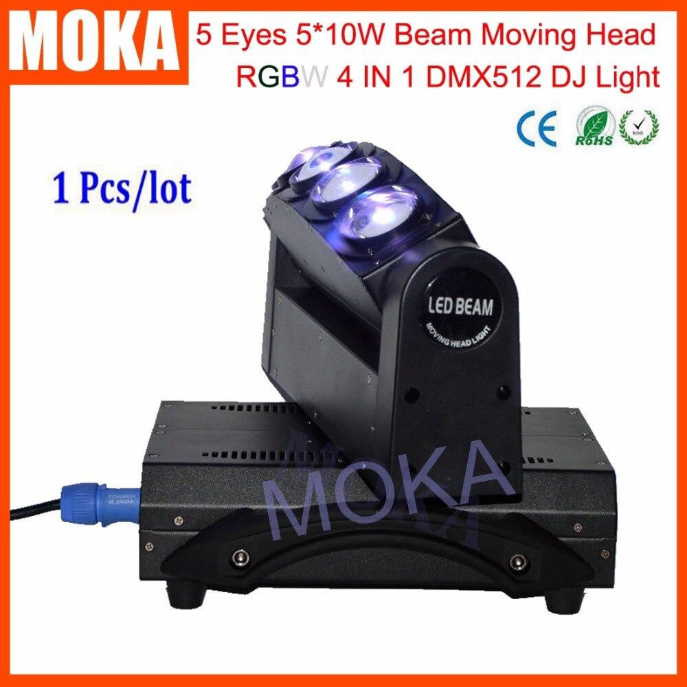 Luz de haz de MOKA de 5 cabezales de luz LED de 5X10 W DMX 4IN1 RGBW Luz de barra de discoteca de escenario en movimiento 3 clavija XLR enchufes TV LIVE SHOW proyector