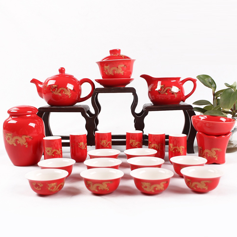 China Jingdezheng Ceramic Tea Set Wedding Supplies King