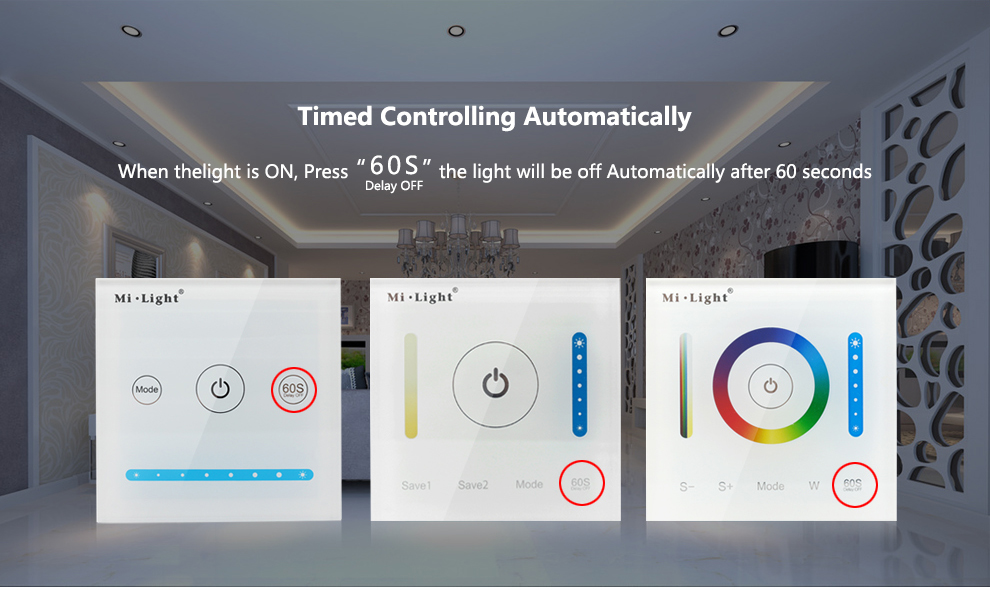④MiLight P1/P2/P3 Smart Panel Controller Dimming Led Dimmer RGB
