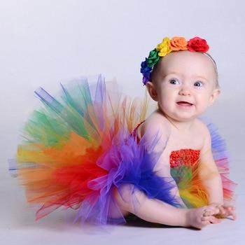 공주 아기 무지개 양재 투투 드레스 꽃 머리띠 할로윈 생일 의상 소녀 사진 소품 ts125