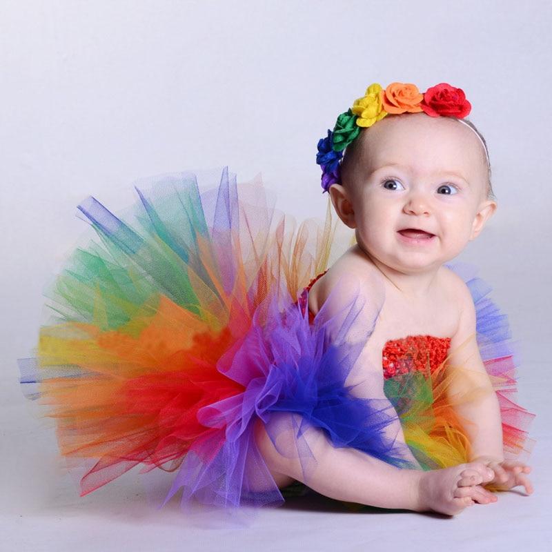 Детское Радужное платье-пачка с цветочным принтом TS125