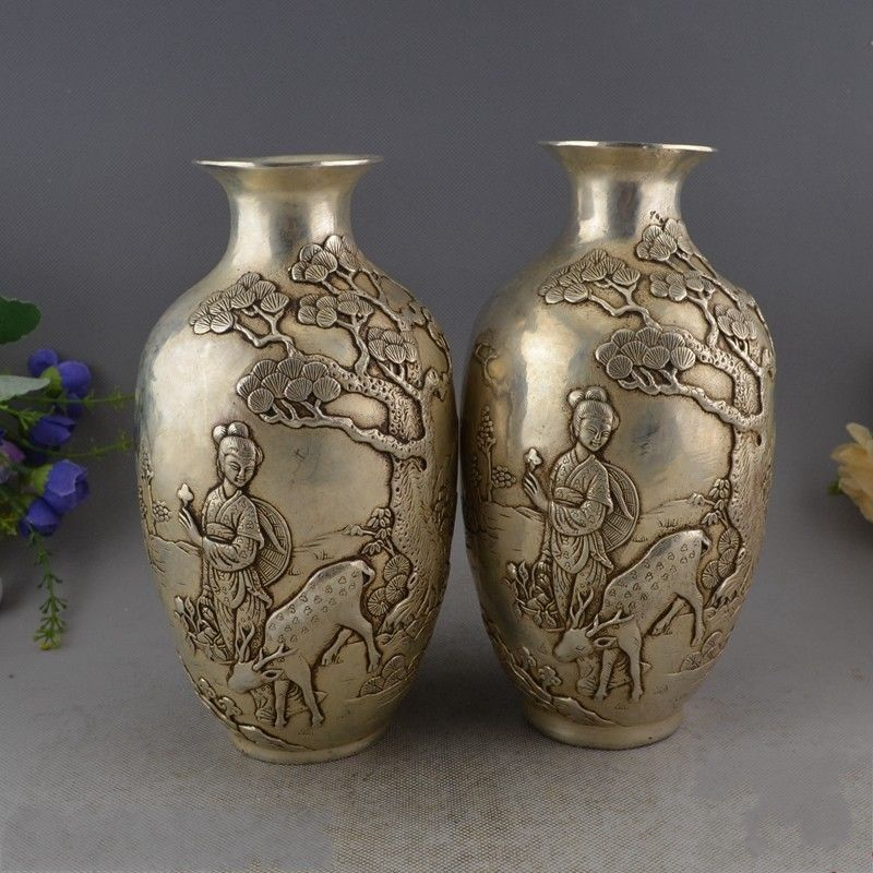 Marked Chinese Miao silver longevity Immortal deer lucky vase statue pairMarked Chinese Miao silver longevity Immortal deer lucky vase statue pair