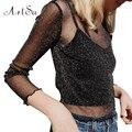 ArtSu 2017 Черный Блузка Рубашка Женщины Топы Полым из Длинным Рукавом Блузки Blusas Feminina Прозрачный Прохладный Блузка Femme ASBL20035