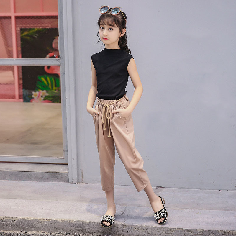 wholesale sales hot sale online various colors Big Girls Pants Set Teen Girl Clothing 2018 Little Girls Summer Outfit  Black Vest Tops And Khaki Pants 2 Pcs Kids Clothes Sets