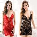 Sexy de Encaje Rosa Pura Cuello En V Profundo Vestido Lencería Ropa de Dormir G-string ropa de Noche Rojo y Negro caliente BK5S