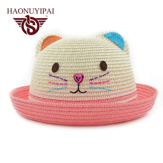 3e9fed6f99663 Lindo Gato Gorra para el Sol Sombrero de Paja Para Las Niñas de Alta  Calidad Para