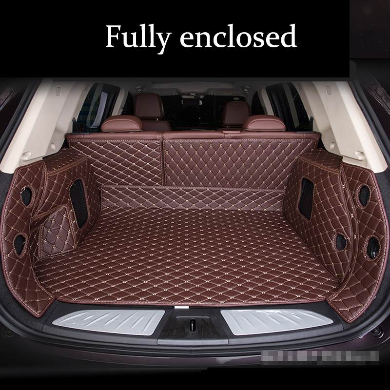 Custom Leather Car Trunk Mats For Tesla Model-S 2014-2016 Model-X 5seat 2017-2018 All Models Accessories Leather Tail Box Mats