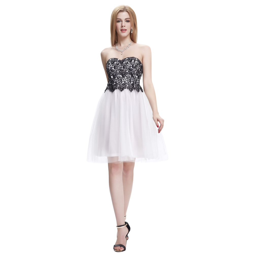 Black Red Blue White Lace Appliques Short Prom Dresses Ball Gown ...