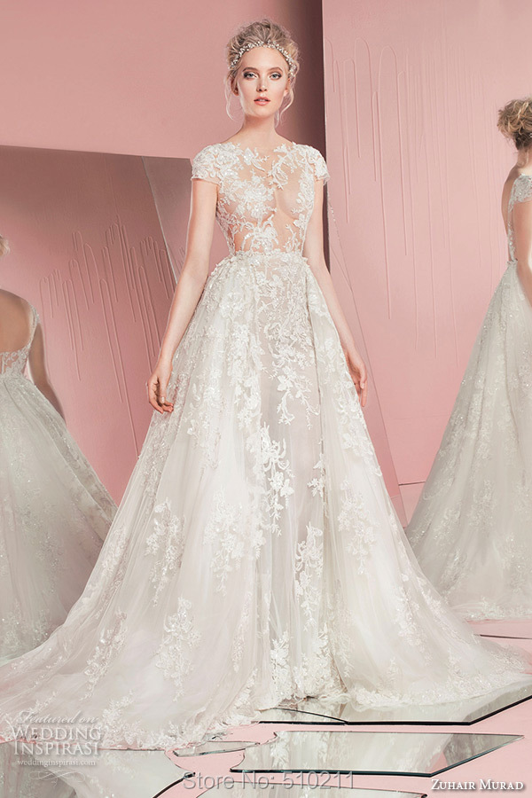 Online Shop New Arrival Sexy Short Sleeves Sparkly Beads Appliques See Through Lace Zuhair Murad Wedding Dresses 2015 Bridal
