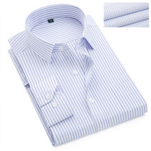 VISADA JAUNA 2017 New Collection Men's Shirts Long Sleeves In Strip Casual Men's Shirts 7XL Big Size Solid Shirts For Men N5901
