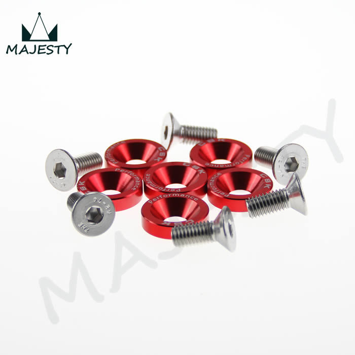 6 PIECE M8 HEX FASTENERS FENDER WASHER BUMPER ENGINE CONCAVE SCREWS JDM RED ...