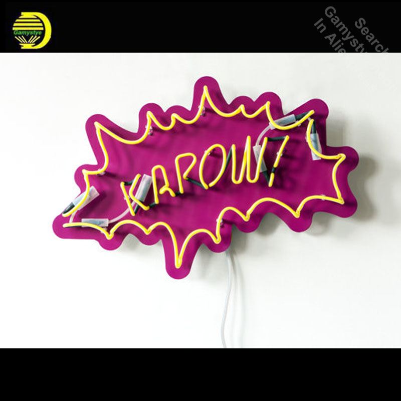 Neon Sign for KAPOW Pop Art Neon Bulb sign handcraft Handmade neon signboard personalized post war consumer boom with board image