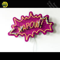 Neon Sign for KAPOW Pop Art Neon Bulb sign handcraft Handmade neon signboard personalized post war consumer boom with board