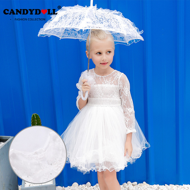 d94588eeb85 Summer Girls Princess Dresses Child Mesh Lace BALL GOWN Children White  Clothing for Party High Quality