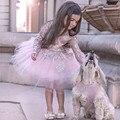 Прекрасный Бальное платье Розовый Цветок Девочки Платья 2017 Совок С Длинным Рукавом Тюль Аппликация Новое Прибытие Причастие Платья