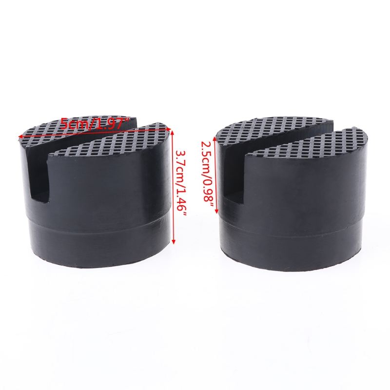 Image 4 - 2 Pcs Black 50x37mm Car Auto Slotted Frame Rail Hydraulic Floor Jack Rubber Pad