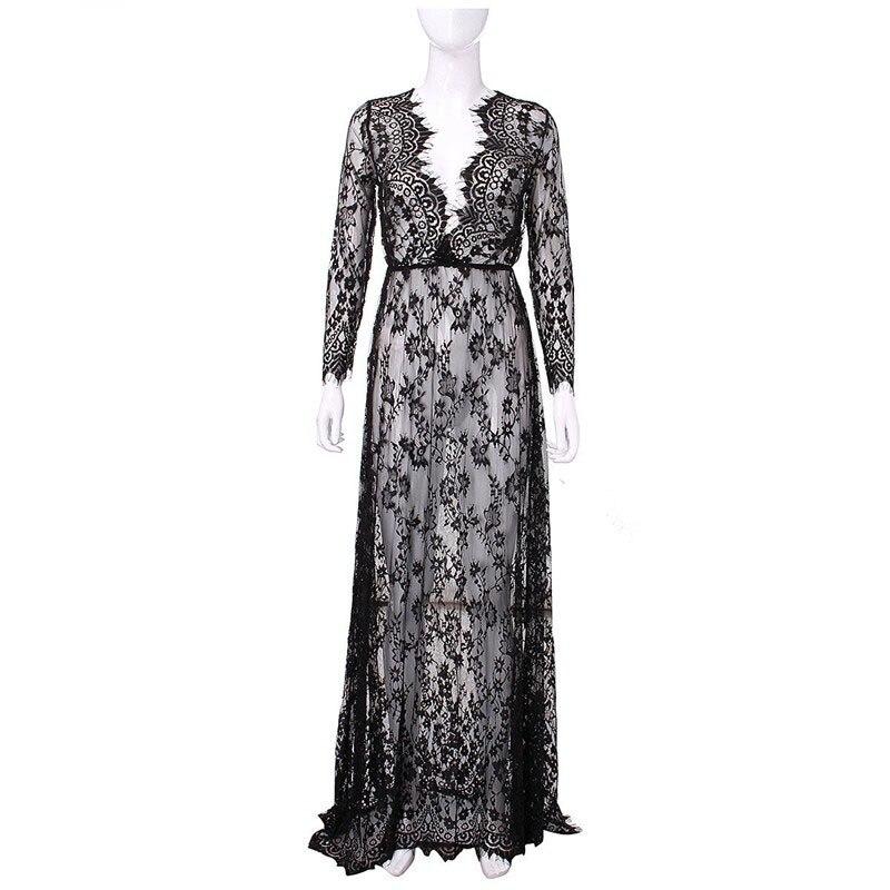 2019 Pregnant Lace Dress Women Front Split Long Maxi Maternity Black&White Lace Dress Gown Photography Prop See Through Dress (5)