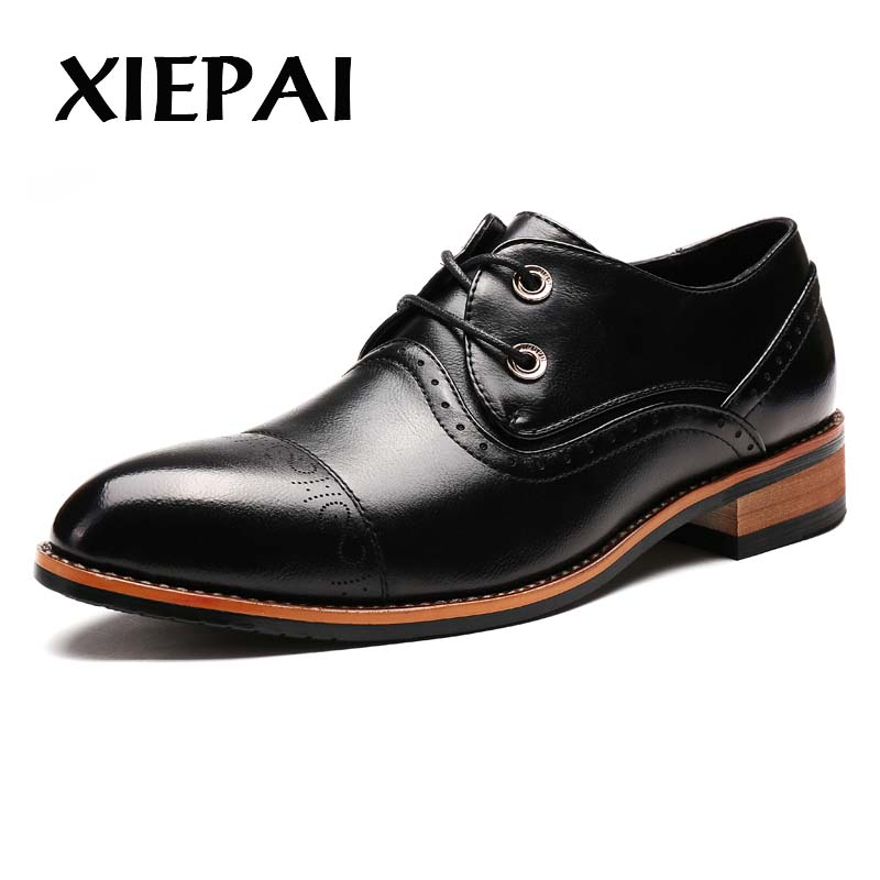 XIEPAI Luxury Brand Men Formal Leather Oxfords Size 38-44 Brogue Pointed Toe Adult Dress Shoes Business Office Man Footwear