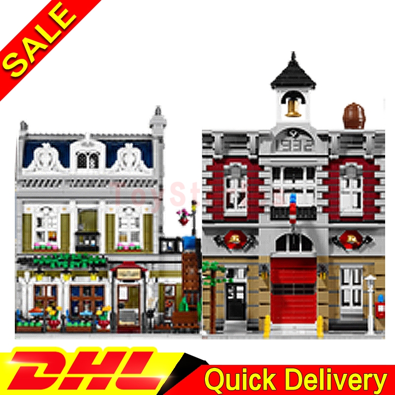 Lepin 15004 Fire Brigade + Lepin 15010 Parisian Restaurant Model Building Street Sight Blocks Bricks legoings Toys 10197 10243 dhl new 2418pcs lepin 15010 city street parisian restaurant model building blocks bricks intelligence toys compatible with 10243