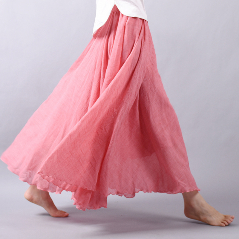 2018 New A-Line Women Linen Cotton Skirts Elastic Waist Two Layers Pleated Maxi Skirts Beach Boho Vintage Long Summer Skirts
