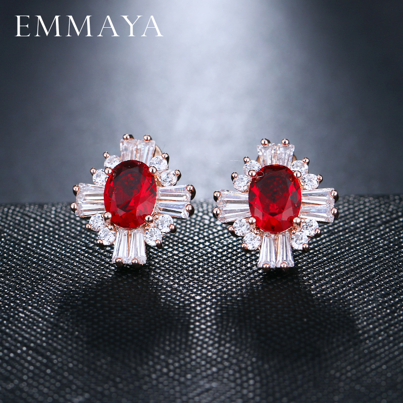EMMAYA Luxury Gold Color Big Red Cubic Zirconia Stone Fashion Bridal Wedding Stud Earrings Jewelry Accessories