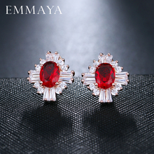 EMMAYA Luxury Gold Color Big Red Cubic Zirconia Stone Fashion Bridal Wedding Stud Earrings Jewelry Accessories