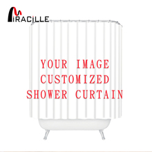 Miracille Customized Shower Curtains Bath Decor Curtain Funny Image Waterproof Polyester Fabric Bathroom Blinds with 12 Hooks cheap Modern cartoon HTSC001 Eco-Friendly