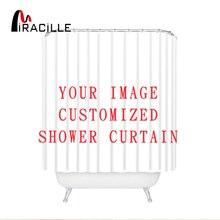 Miracille personnalisé rideaux de douche bain décor rideau drôle Image imperméable Polyester tissu salle de bain stores avec 12 crochets