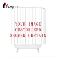 Miracilleที่กำหนดเองผ้าม่านอาบน้ำผ้าม่านภาพตลกผ้าโพลีเอสเตอร์กันน้ำห้องน้ำผ้าม่านกับ12ตะขอ