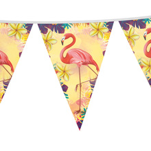 24pcs paper flags Flamingo theme banner for kids favors Baby Shower birthday party decoration 3m longth