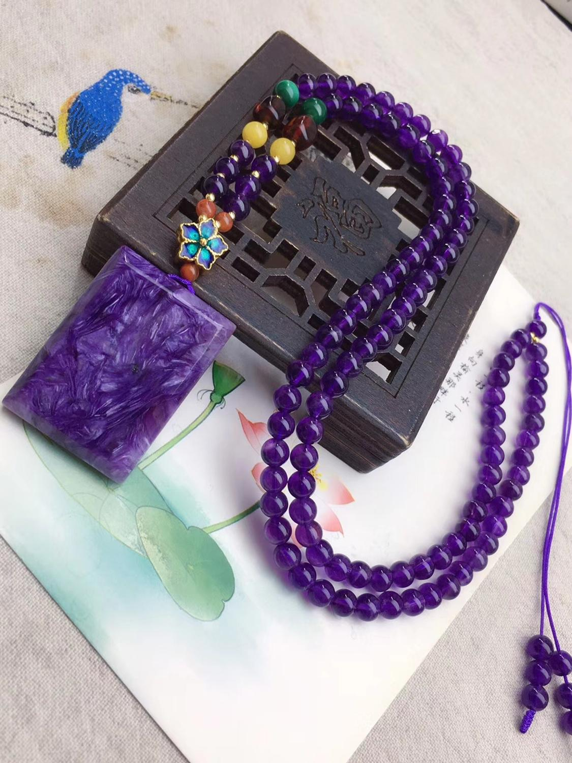 100% Natural Purple Charoite Gemstone Rectangle Women Men Pendant 36x26x7mm From Russian Charm Beads Necklace Gift AAAAA
