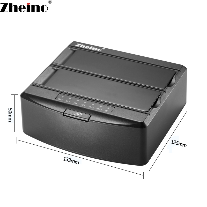 Zheino Hard Drive Base Docking Station External SSD Drive Dual-Bay Offline Clone Function USB 3.0 to SATA for 2.5/3.5 HDD/SSD brand new 2 5 3 5 hard drive hdd ssd usb3 0 3 bay sata ide hdd docking station ide sata offline copy