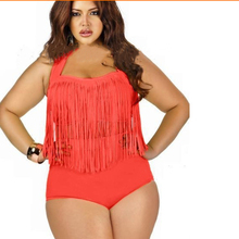 2019 new Large Swimwear Plus Size 3XL Halter high waisted Tanikini Bikini Women  Sexy Tassel Bikini Set Bathing swim suit