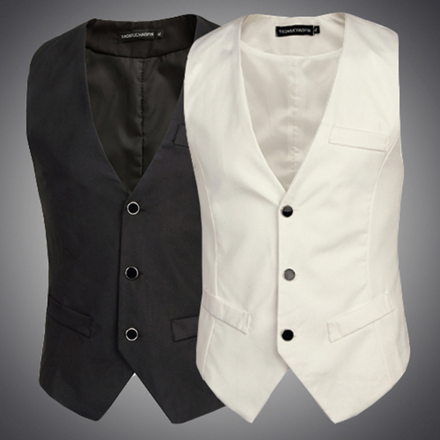 Vest Men Classic Waistcoat Formal Tuxedo Single Breasted Wedding Groom Clothing Men Solid Black White Sleeveless Vests M11
