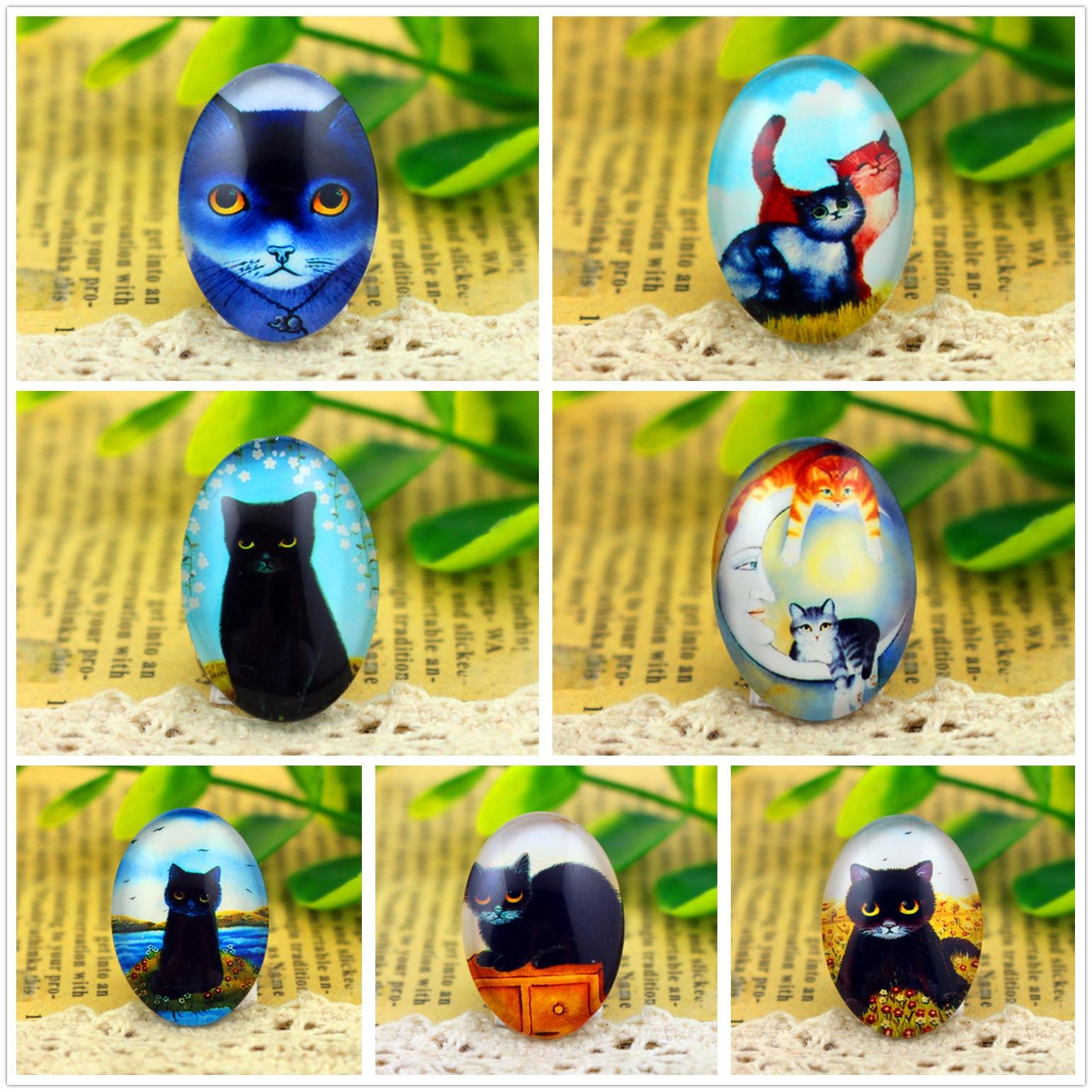 Hot Sale 10pcs 18x25mm Handmade Photo Glass Cabochons  (Cat Series)