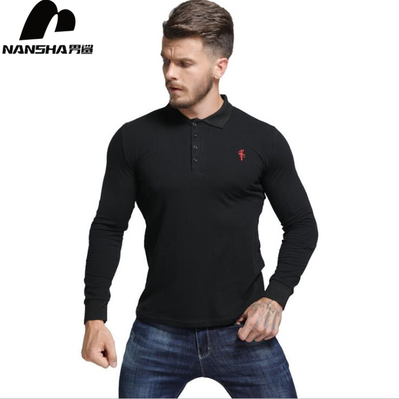NANSHA New Men   Polo   Shirt Men Business Casual Solid   Polo   Shirt Male Long Sleeve Embroidery   Polo   Shirts Men Brand Clothing